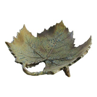 Green Maple Leaf Slab Pottery Footed Dish Bowl Signed McGuire For Sale