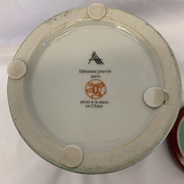 Turquoise Fabienne Jouvin Paris Pop Art Ceramic Tea Jar For Sale - Image 8 of 11