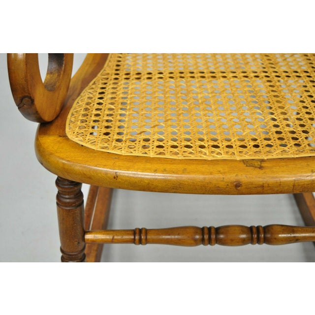 Brown 19th Century Antique Eastlake Victorian Cane & Maple Wood Primitive Rocker Rocking Chair For Sale - Image 8 of 12