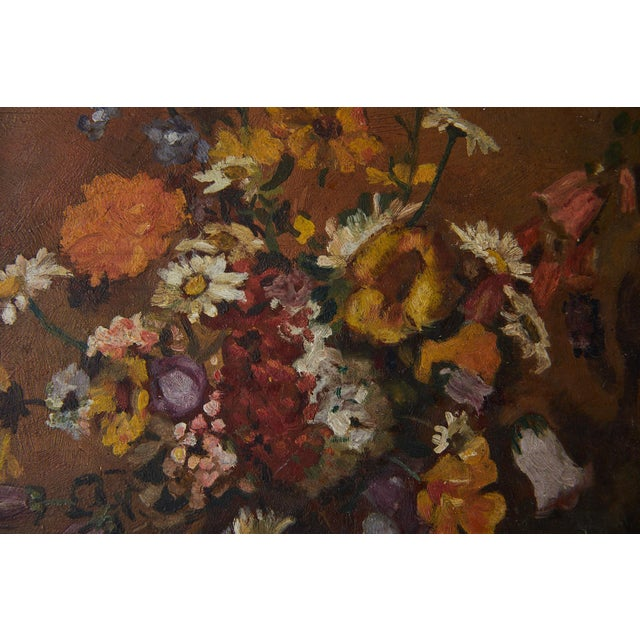 Wood Impressionistic Still Life of Wildflowers and Duck Figurine For Sale - Image 7 of 12