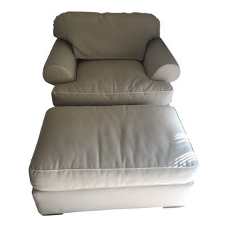 Kravet Furniture Club Chair & Ottoman For Sale