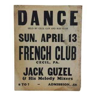 """1930s Vintage """"Dance - French Club"""" Dance Sign For Sale"""