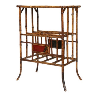 19th Century English Bamboo Magazine Rack With Tabletop For Sale