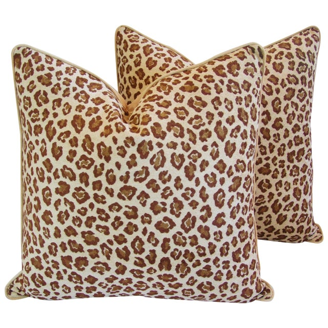 "Leopard Safari Velvet Feather/Down Pillows 24"" Square - Pair For Sale"