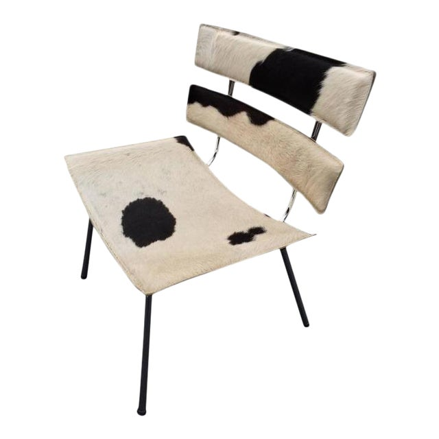 Cowhide & Chrome Eames Style Chair For Sale