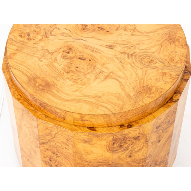 Metal 1950s Mid-Century Modern Edward Wormley Dunbar Burl Olive Wood Side Table For Sale - Image 7 of 9
