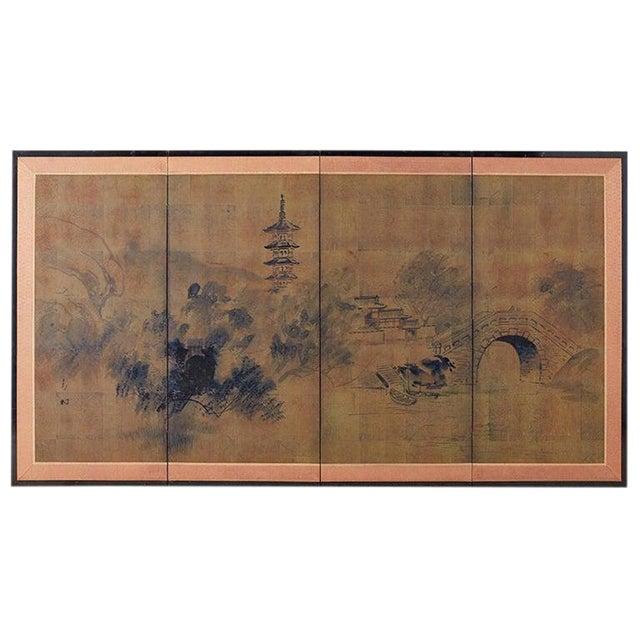 Japanese Four-Panel Screen of Pagoda Bridge Landscape For Sale