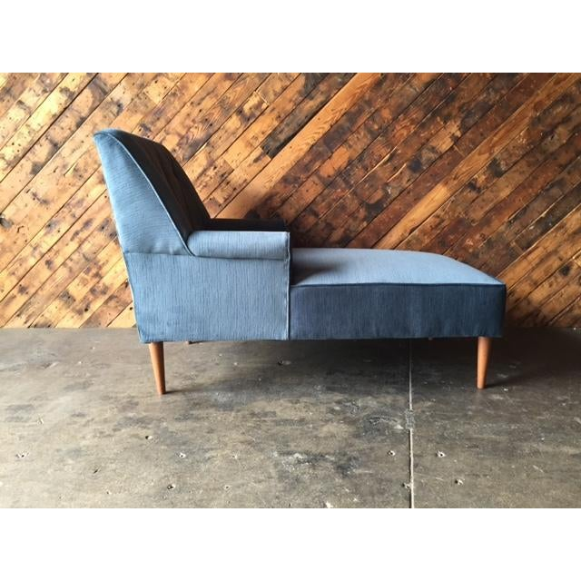 Mid Century Reupholstered Tufted Extended Lounge Chair - Image 5 of 7