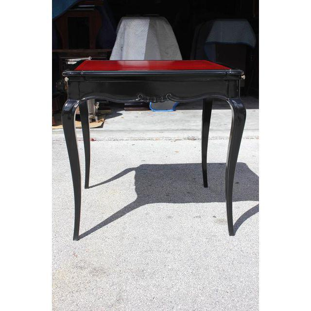 French Art Deco Macassar Ebony Game Table By Jules Leleu Style , circa 1940s - Image 6 of 10