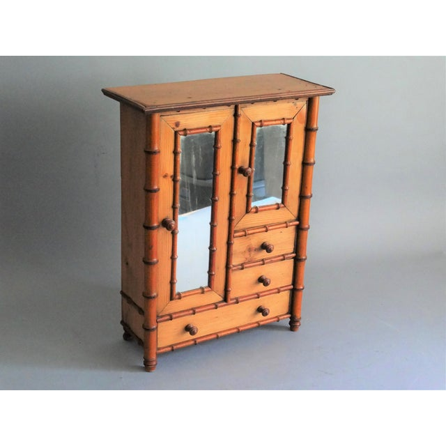 Asian Diminutive Faux Bamboo Armoire For Sale - Image 3 of 8