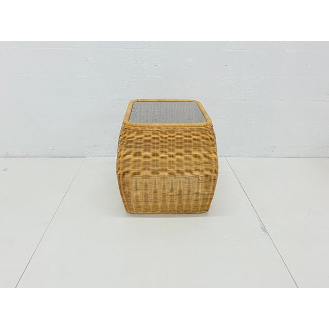 1970s Mid-Century Modern Hand Made Sculptural Wicker Rattan Side Tables - a Pair For Sale - Image 5 of 13