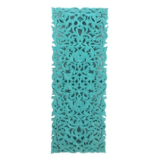 Turquoise Floral Carved Panel For Sale
