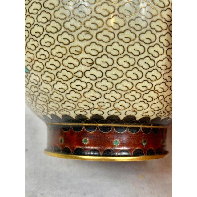 Late 20th Century Vintage Floral Cloisonne Vase For Sale - Image 5 of 10