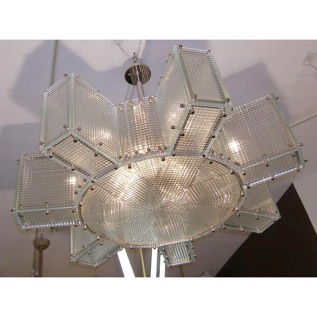 Contemporary Hypoid Glass and Polished Nickel Chandelier For Sale - Image 3 of 3