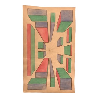 1950s Vintage Phyllis Myrick Abstract Geometric Watercolor Painting For Sale