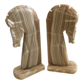 Horse Head Bookends Carved Onyx Stone - a Pair For Sale