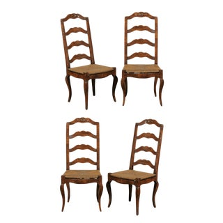Late 20th Century French Provincial Ladder Back Rush Seat Chairs- Set of 4 For Sale