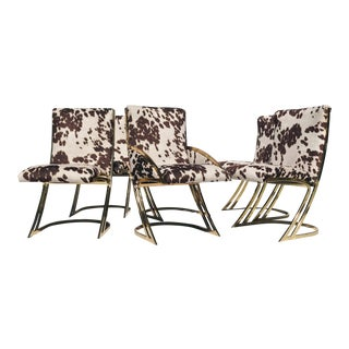 1980s Vintage Pierre Cardin Cantilever Brass Dining Chairs- Set of 6 For Sale