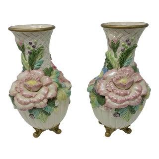 Vintage Fitz & Floyd Chrysanthemum and Tulip Footed Vases a Pair For Sale