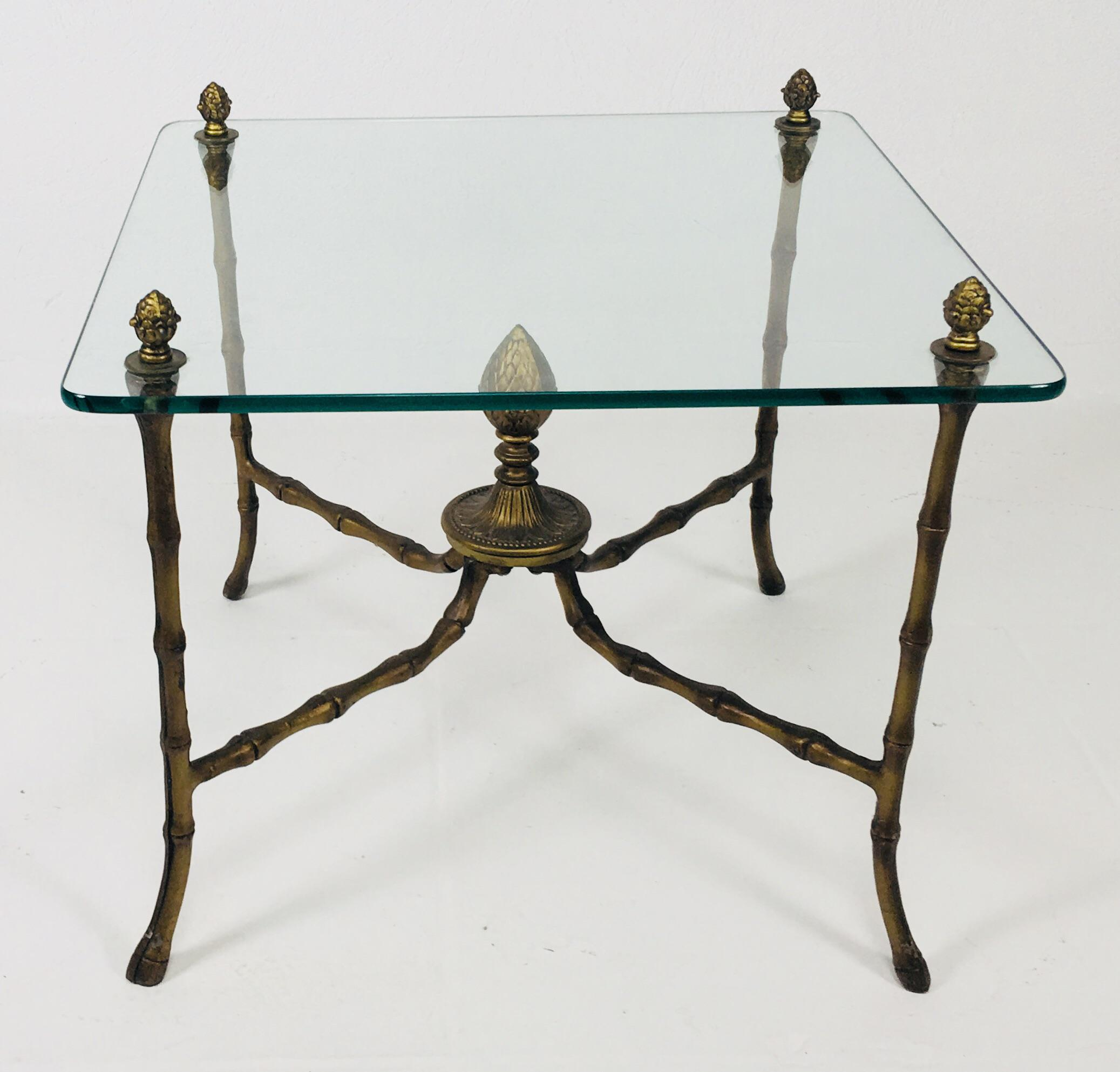 Mid Century Glass Top Faux Bamboo Side Table For Sale   Image 9 Of 9