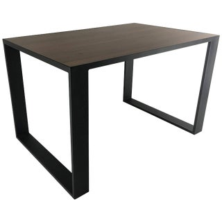 Rectangular Iron Cube Table With Embedded Wood Top, Dinner or Desk Table For Sale