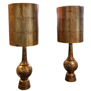 Pair of Nardini Brutalist Brass Patinated Ceramic Lamps in Working Condition For Sale