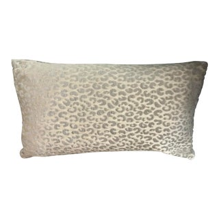 Cream and Silver Elegant Cheetah / Wildlife Pattern Rectangle Pillow For Sale