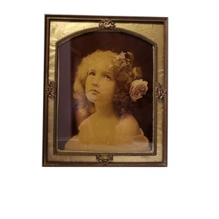 19th Century Art Nouveau Frame Ambrotype Photograph, Girl Portrait Hand Colored Glass For Sale