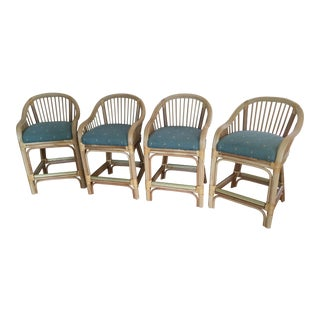 Vintage Shelby Williams Bamboo Counter Height Stools - Set of 4