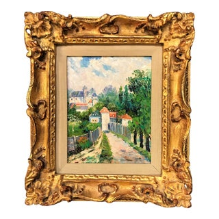 Vintage French Impressionist Oil Painting on Canvas in Gilt Wood Frame For Sale