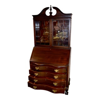 Vintage Chippendale Style Mahogany Ball & Claw Foot Secretary Desk For Sale