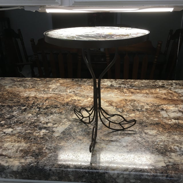 Hummingbird Stained Glass Accent Plant Stand Tables For Sale - Image 6 of 11