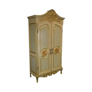 French Rococo Style Gilt Accent Custom Faux Painted Armoire For Sale