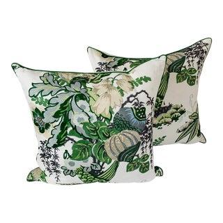 Thibaut Fairbanks Pillows in Green & White - a Pair For Sale