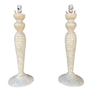 1960s Vintage Mother of Pearl Table Lamps - a Pair For Sale