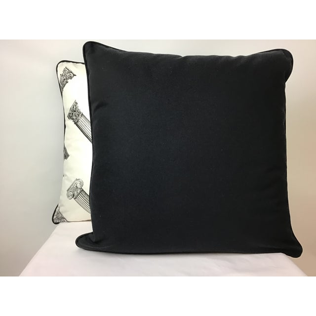 "Black and white printed column pattern 20""x20"" pillows.Welted and backed in black canvas, fully serged, hidden zipper...."