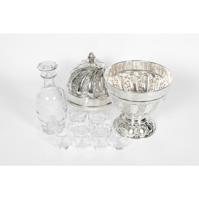 Silver Sheffield Silver Plated Egg Shape Liquor Cave - 7 Pc. Set For Sale - Image 8 of 13