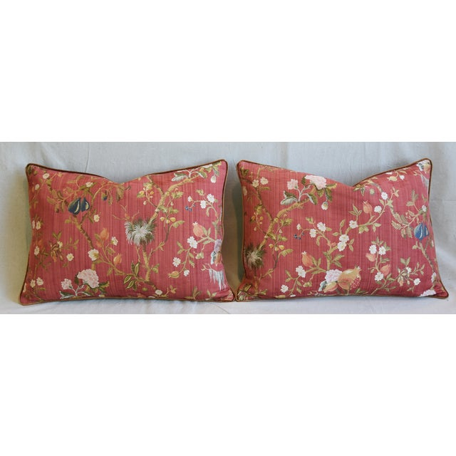 """Cotton Italian Scalamandre Melograno Silk Feather/Down Pillows 26"""" X 18"""" - Pair For Sale - Image 7 of 13"""
