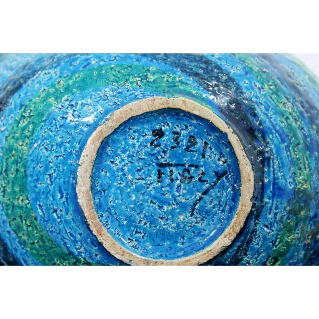 Clay Mid Century Modern Blue Green Ceramic Art Bowl Bitossi Made in Italy 1970s For Sale - Image 7 of 9