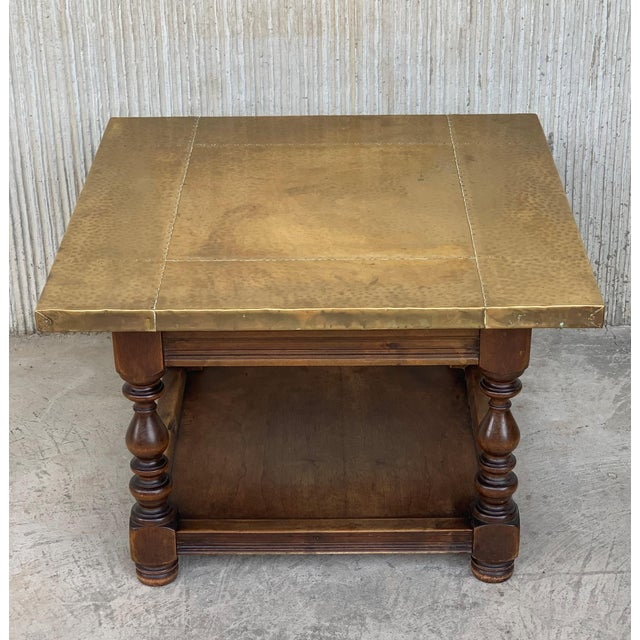 19th Spanish Zinc Top Coffe or Center Table With Turned Legs and Lower Tray For Sale - Image 4 of 12