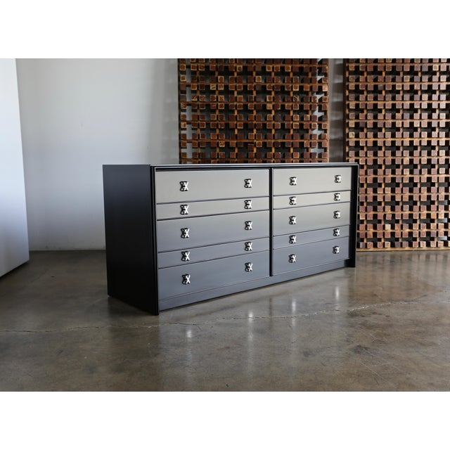 Paul Frankl ebonized chest for Johnson Furniture Co., circa 1950. This piece has been professionally restored. Freshly...