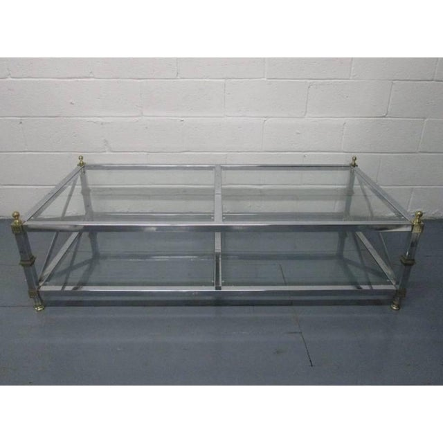 French Chrome and Brass Coffee Table For Sale - Image 3 of 6