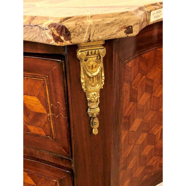 Louis XV French Marble Top Two Drawers Bronze-Mounted Tables or Nightstands - a Pair For Sale - Image 3 of 10