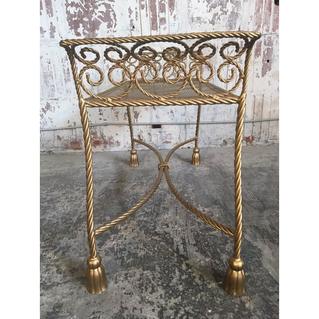 Gold Hollywood Regency Gold Gilt Wrought Iron Tassel Vanity Bench For Sale - Image 8 of 10