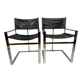 Vintage Mid-Century Chrome & Leather Flat Bar Director Style Arm Chairs - a Pair For Sale