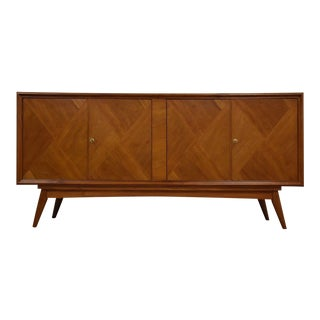 Large European Walnut Mid Century Credenza For Sale