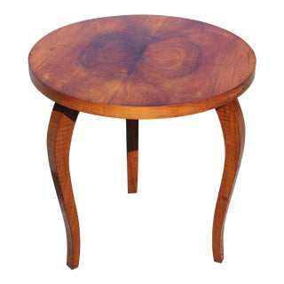 Classic French Art Deco Side or Accent Round Table Exotic Walnut, Circa 1940s For Sale