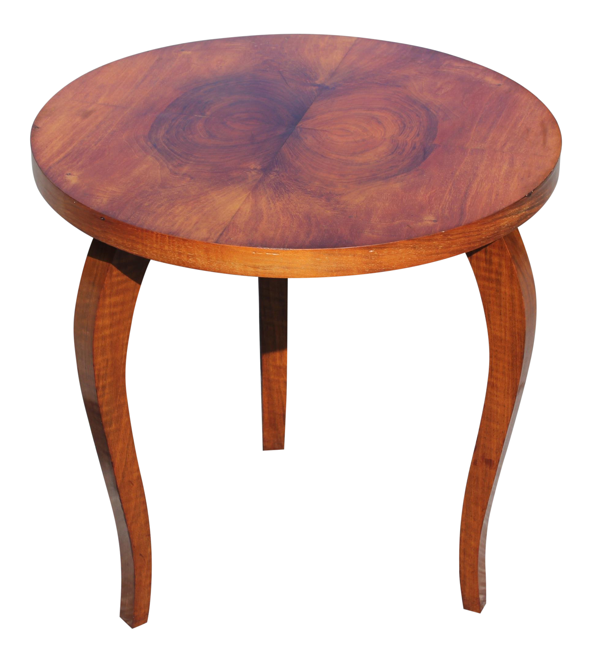 Charmant Classic French Art Deco Side Or Accent Round Table Exotic Walnut, Circa  1940s