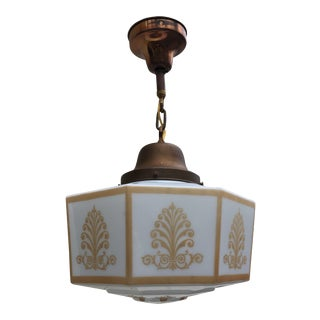 Antique Copper and Brass Schoolhouse Fixture For Sale
