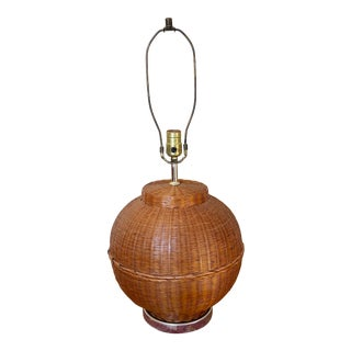 Vintage Natural Wicker Table Lamp For Sale